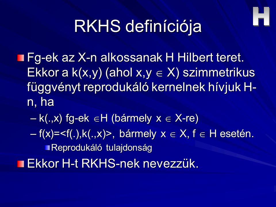 RKHS definíciója Fg-ek az X-n alkossanak H Hilbert teret.