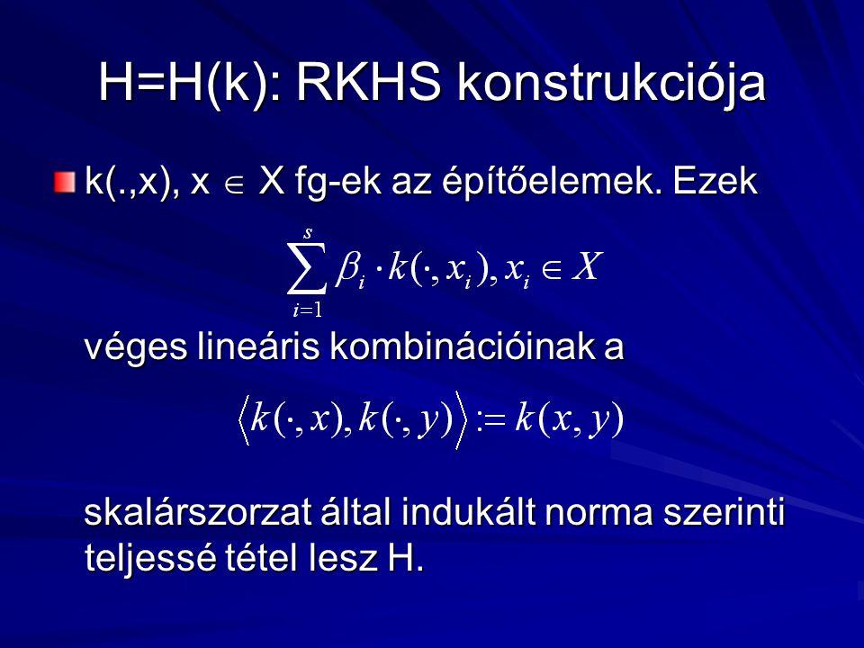 H=H(k): RKHS konstrukciója k(.,x), x  X fg-ek az építőelemek.