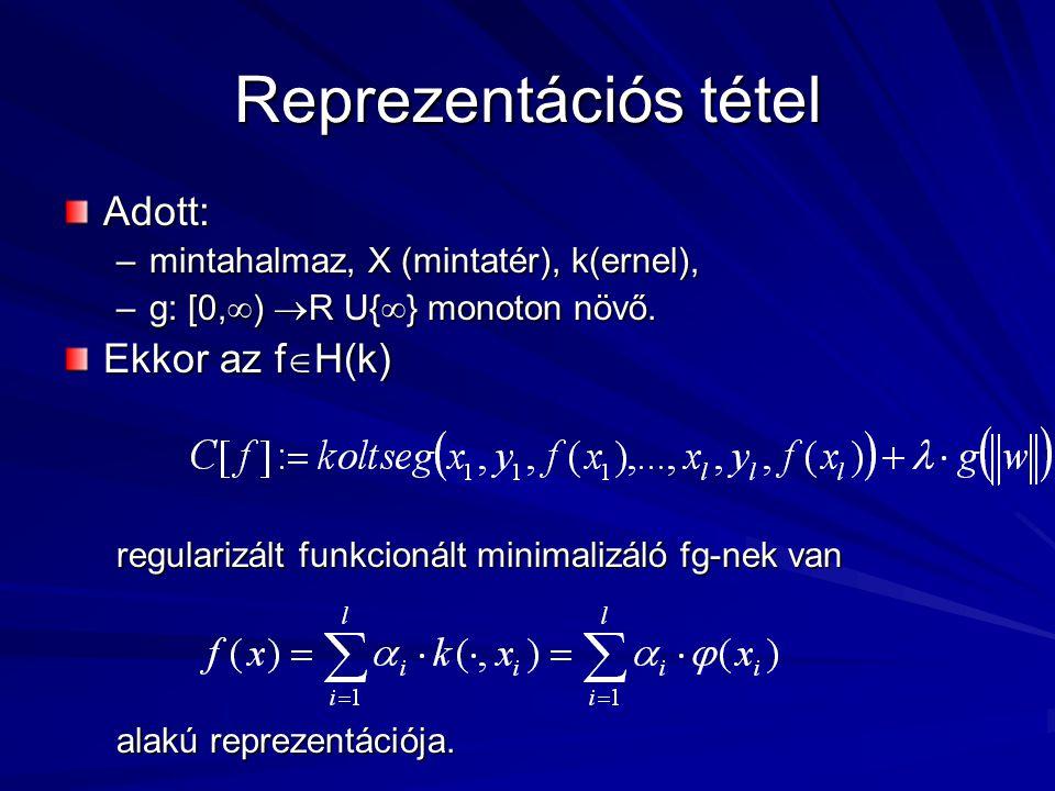 Reprezentációs tétel Adott: –mintahalmaz, X (mintatér), k(ernel), –g: [0,  )  R U{  } monoton növő.