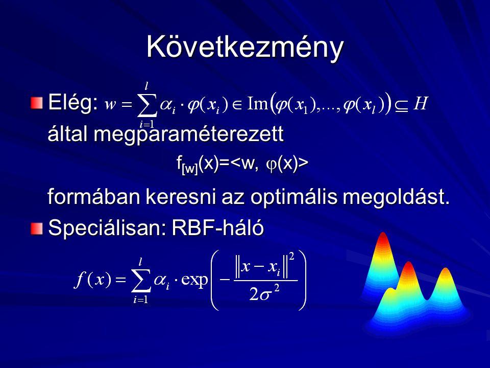 Következmény Elég: által megparaméterezett által megparaméterezett formában keresni az optimális megoldást.