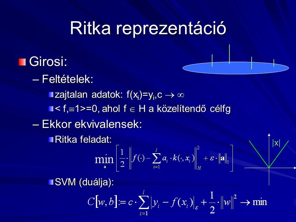 Ritka reprezentáció Girosi: –Feltételek: zajtalan adatok: f(x i )=y i,c   =0, ahol f  H a közelítendő célfg =0, ahol f  H a közelítendő célfg –Ekkor ekvivalensek: Ritka feladat: SVM (duálja): |x|
