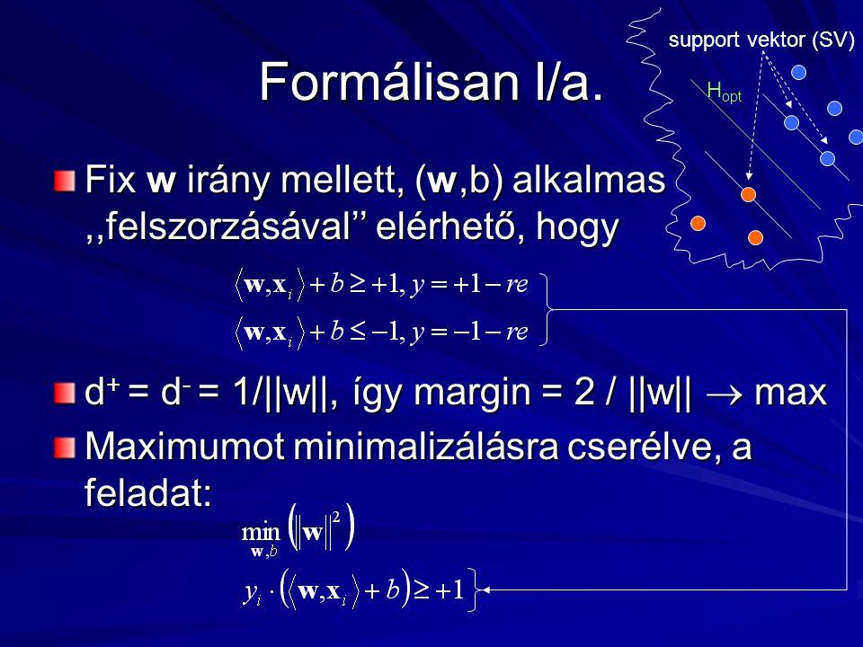 A kernel trükk Ha van egy algoritmus, ami megfogalmazható pusztán skalárszorzat segítségével, az kernelesíthető.
