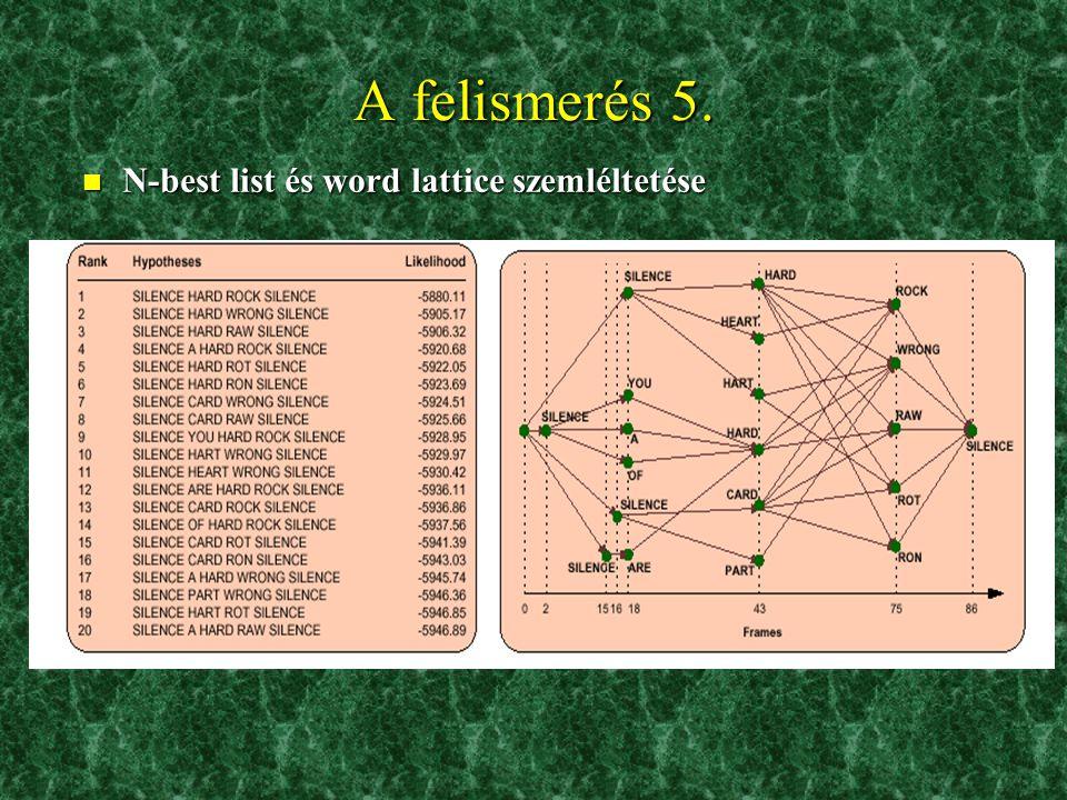 A felismerés 4. n A felismerést segítő komponensek –Akusztikus modell: általában az ún. rejtett Markov-modell »A hangokhoz tartozó adatvektorokat stat