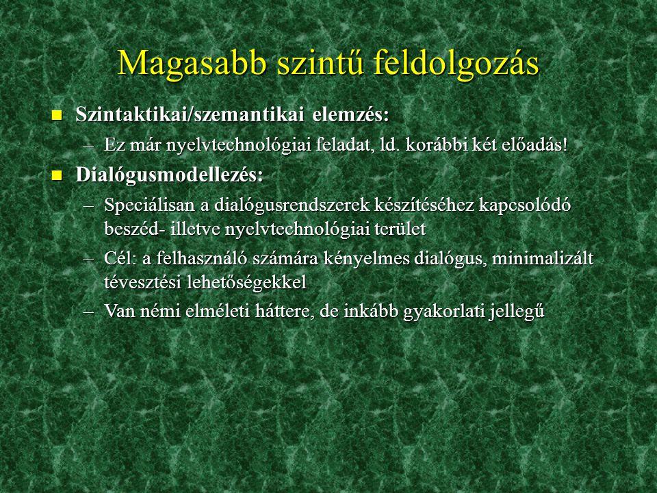 A felismerés 5. n N-best list és word lattice szemléltetése