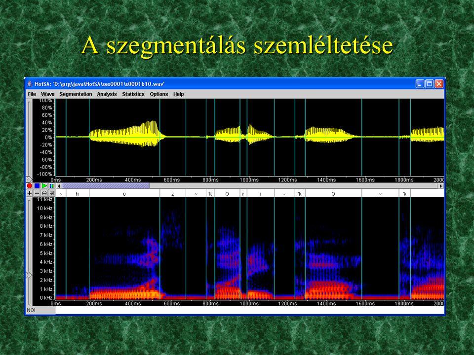 Adatbázisok n Magyar Telefonos Beszédadatbázis (MTBA) –A Műegyetemmel együttműködve készítettük –500 telefonálótól származó felvételek, vezetékes és m