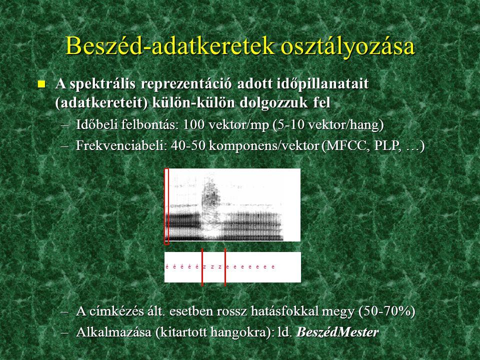 Adatbázisok 2. n Magyar Referencia Beszédadatbázis (MRBA) –A Műegyetemmel együttműködve készítettük –300 embertől származó felvételek, számítógépes kö