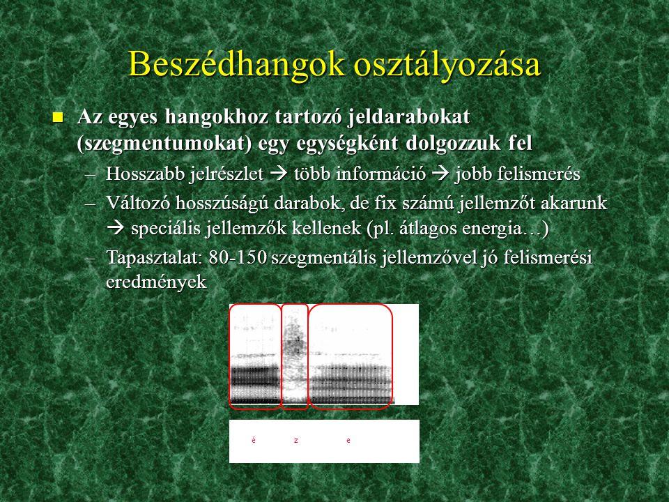 n A spektrális reprezentáció adott időpillanatait (adatkereteit) külön-külön dolgozzuk fel –Időbeli felbontás: 100 vektor/mp (5-10 vektor/hang) –Frekv