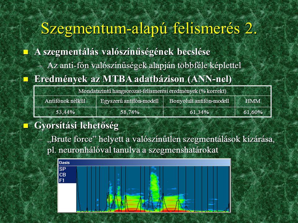 n Probléma: folyamatos szövegben a hangok helye nem ismert! –Megoldás: brute-force 'előre' keresés (hosszkorlát mellett) –Osztályozó kiegészítése egy