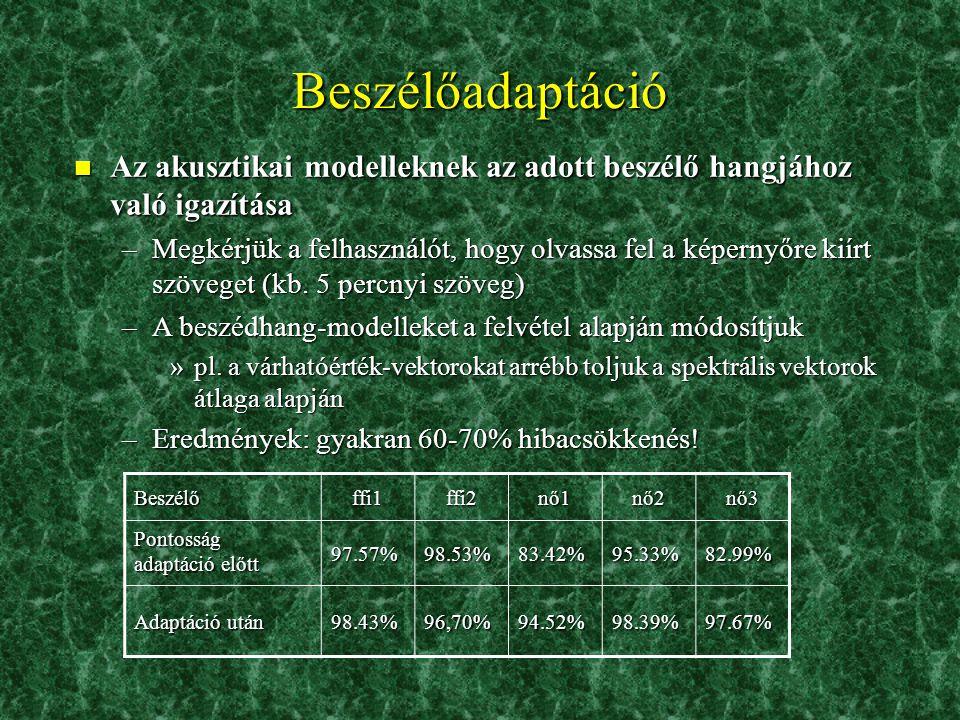 n A felismerési pontosság és a futási idő a szótár méretének és a megtartott nyelvi hipotézisek számának függvényében Hatékony keresési technikák 3.