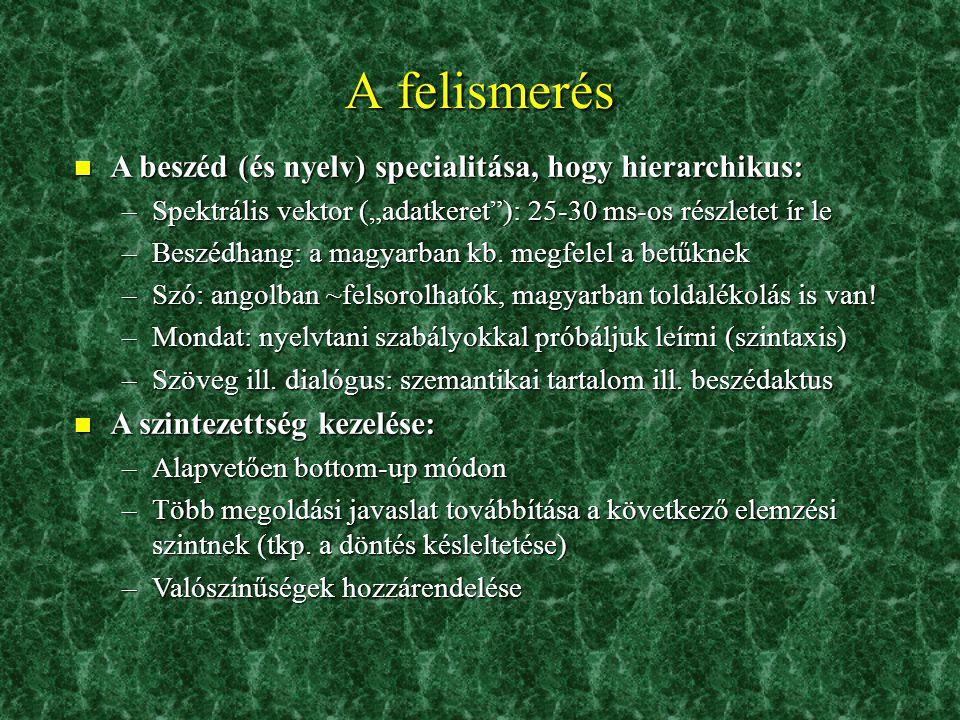 """A felismerés n A beszéd (és nyelv) specialitása, hogy hierarchikus: –Spektrális vektor (""""adatkeret ): 25-30 ms-os részletet ír le –Beszédhang: a magyarban kb."""
