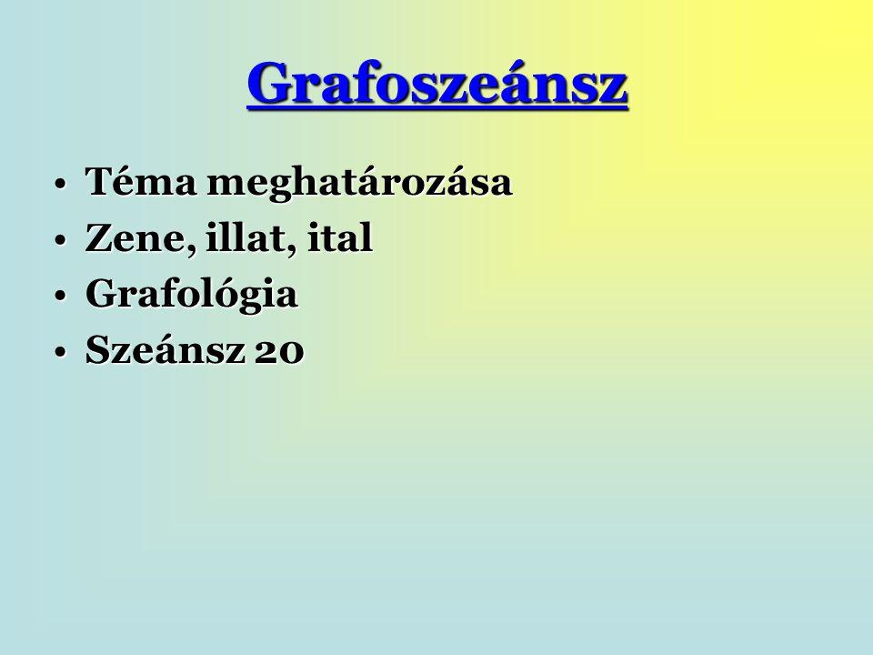 Grafoszeánsz Téma meghatározásaTéma meghatározása Zene, illat, italZene, illat, ital GrafológiaGrafológia Szeánsz 20Szeánsz 20