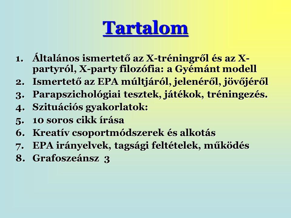 Tartalom 1.Általános ismertető az X-tréningről és az X- partyról, X-party filozófia: a Gyémánt modell 2.Ismertető az EPA múltjáról, jelenéről, jövőjéről 3.Parapszichológiai tesztek, játékok, tréningezés.