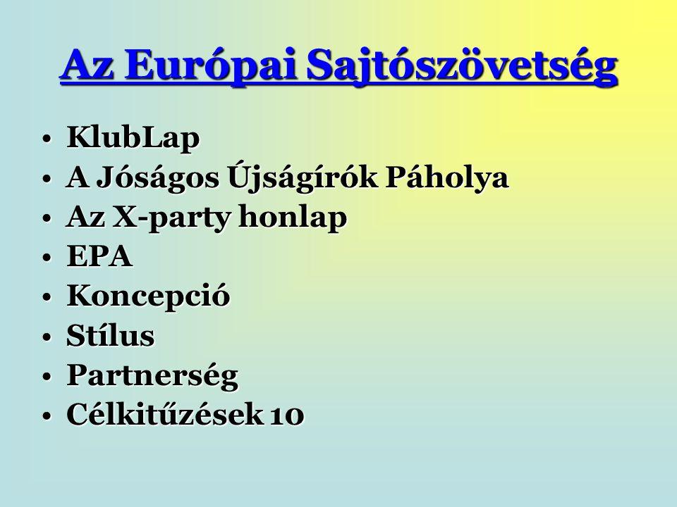 Az Európai Sajtószövetség KlubLapKlubLap A Jóságos Újságírók PáholyaA Jóságos Újságírók Páholya Az X-party honlapAz X-party honlap EPAEPA KoncepcióKoncepció StílusStílus PartnerségPartnerség Célkitűzések 10Célkitűzések 10