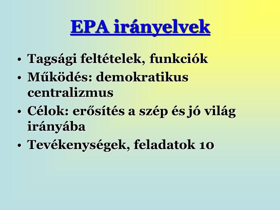 EPA irányelvek Tagsági feltételek, funkciókTagsági feltételek, funkciók Működés: demokratikus centralizmusMűködés: demokratikus centralizmus Célok: erősítés a szép és jó világ irányábaCélok: erősítés a szép és jó világ irányába Tevékenységek, feladatok 10Tevékenységek, feladatok 10