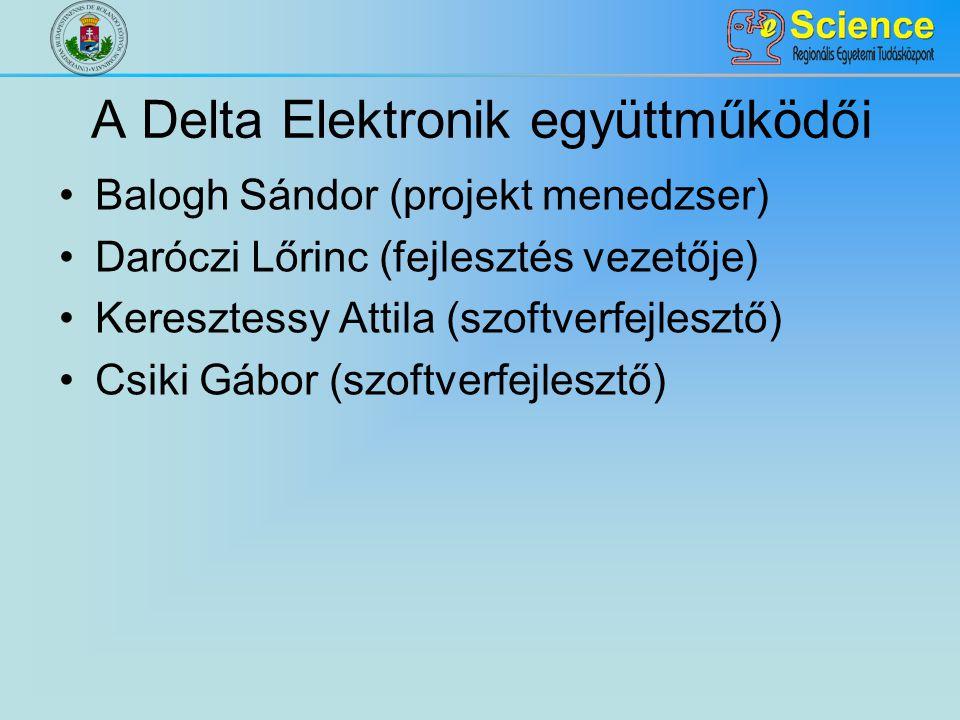 A Delta Elektronik együttműködői Balogh Sándor (projekt menedzser) Daróczi Lőrinc (fejlesztés vezetője) Keresztessy Attila (szoftverfejlesztő) Csiki Gábor (szoftverfejlesztő)
