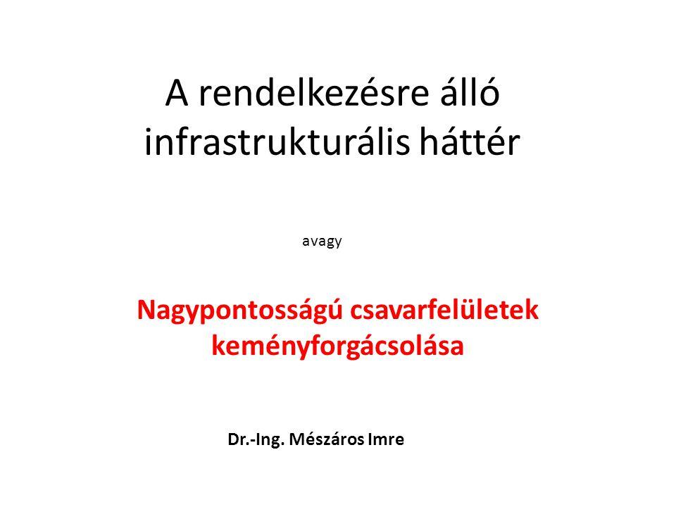 A rendelkezésre álló infrastrukturális háttér Nagypontosságú csavarfelületek keményforgácsolása avagy Dr.-Ing.