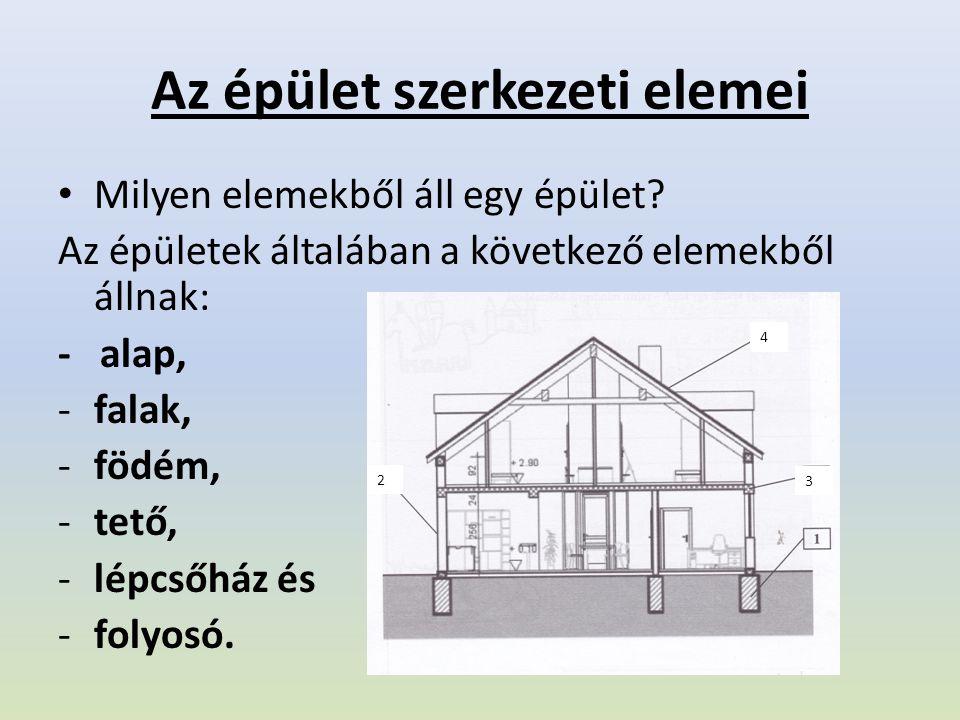 Az épület szerkezeti elemei Milyen elemekből áll egy épület? Az épületek általában a következő elemekből állnak: - alap, -falak, -födém, -tető, -lépcs