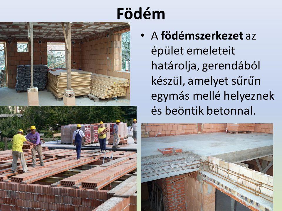 Födém A födémszerkezet az épület emeleteit határolja, gerendából készül, amelyet sűrűn egymás mellé helyeznek és beöntik betonnal.