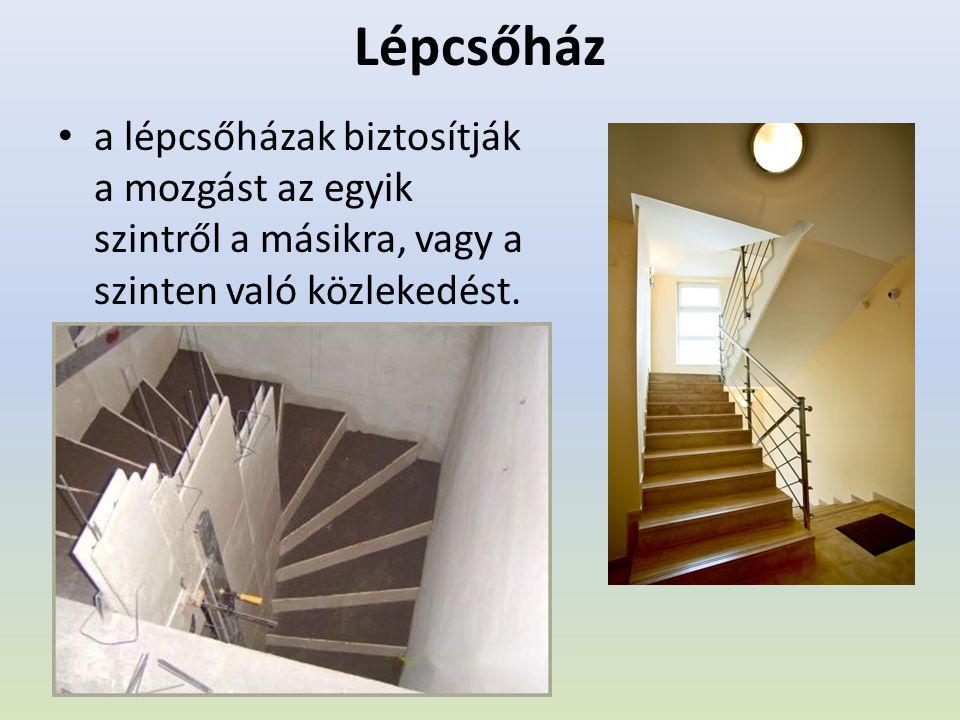 Lépcsőház a lépcsőházak biztosítják a mozgást az egyik szintről a másikra, vagy a szinten való közlekedést.