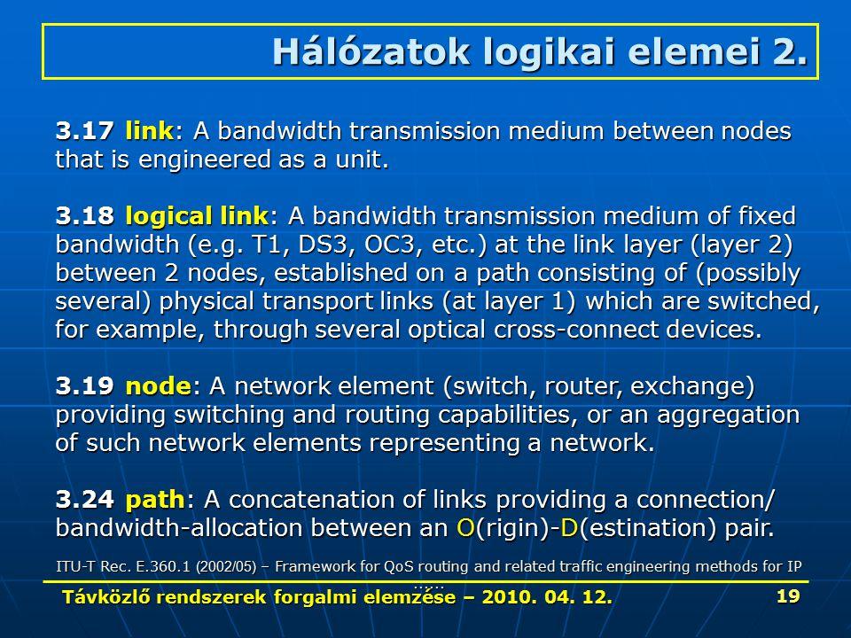 Távközlő rendszerek forgalmi elemzése – 2010. 04. 12. 19 Hálózatok logikai elemei 2. 3.17link: A bandwidth transmission medium between nodes that is e