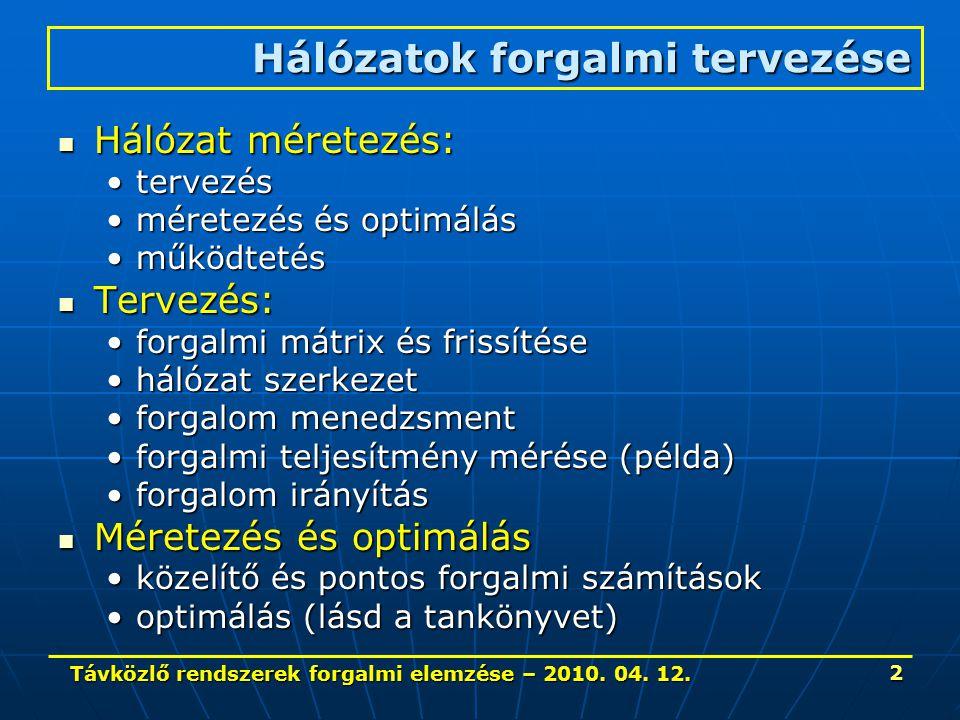 Távközlő rendszerek forgalmi elemzése – 2010. 04. 12. 2 Hálózat méretezés: Hálózat méretezés: tervezéstervezés méretezés és optimálásméretezés és opti
