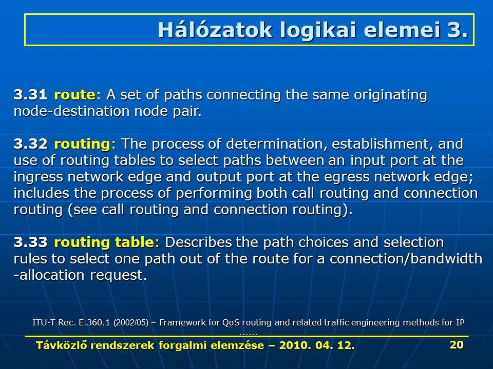 Távközlő rendszerek forgalmi elemzése – 2010. 04. 12. 20 Hálózatok logikai elemei 3. 3.31route: A set of paths connecting the same originating node-de
