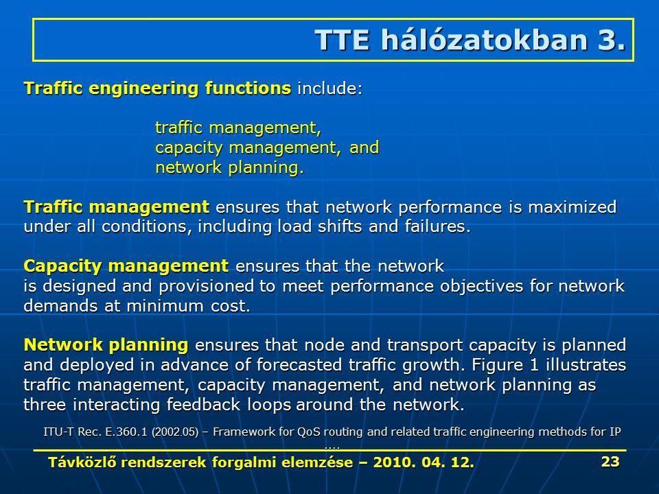 Távközlő rendszerek forgalmi elemzése – 2010. 04. 12. 23 TTE hálózatokban 3. Traffic engineering functions include: traffic management, capacity manag