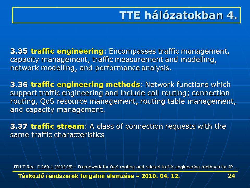 Távközlő rendszerek forgalmi elemzése – 2010. 04. 12. 24 TTE hálózatokban 4. 3.35traffic engineering: Encompasses traffic management, capacity managem