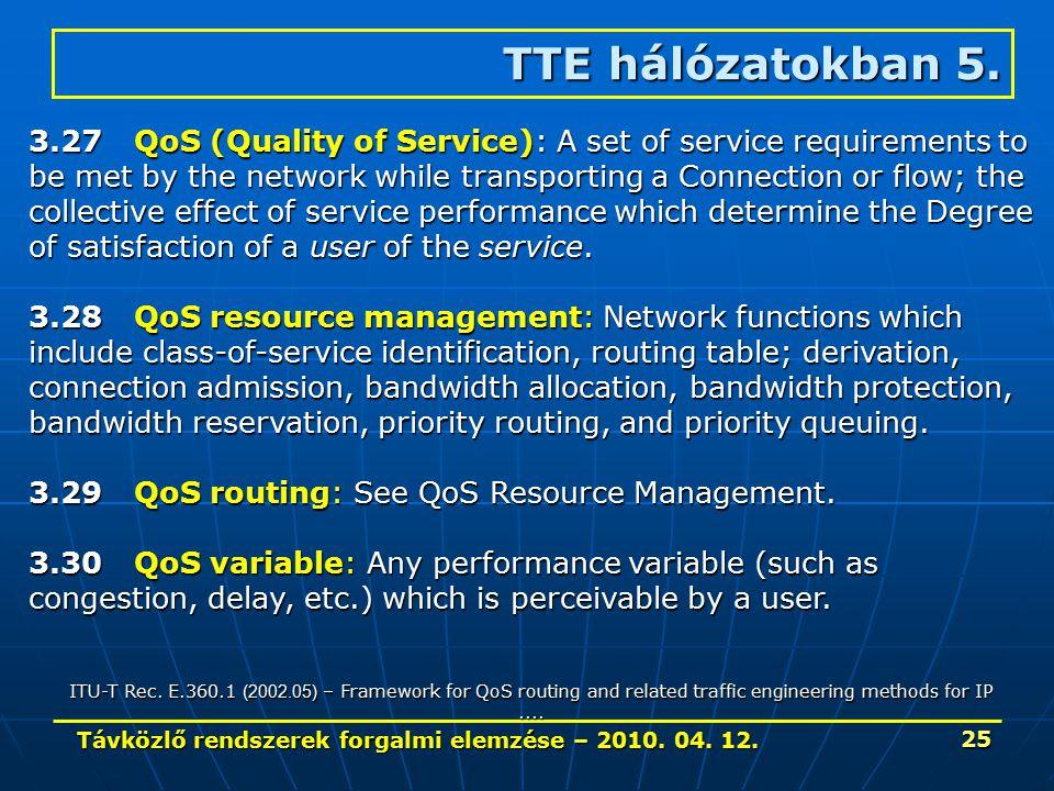 Távközlő rendszerek forgalmi elemzése – 2010. 04. 12. 25 TTE hálózatokban 5. 3.27QoS (Quality of Service): A set of service requirements to be met by