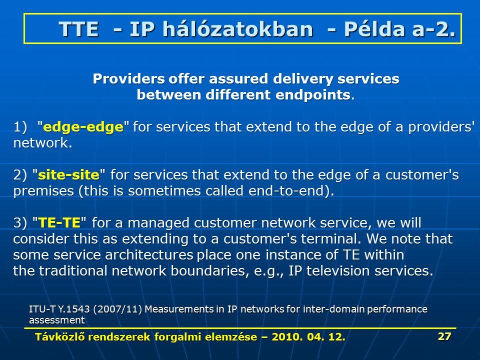 Távközlő rendszerek forgalmi elemzése – 2010. 04. 12. 27 TTE - IP hálózatokban - Példa a-2. ITU-T Y.1543 (2007/11) Measurements in IP networks for int