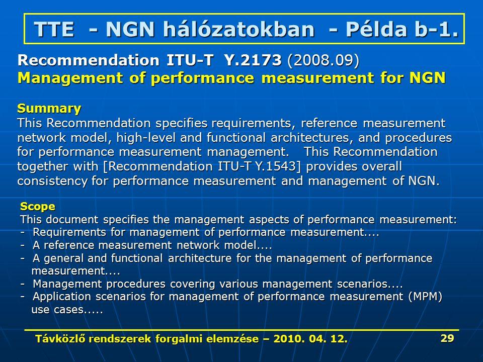 Távközlő rendszerek forgalmi elemzése – 2010. 04. 12. 29 TTE - NGN hálózatokban - Példa b-1. Recommendation ITU-T Y.2173 (2008.09) Management of perfo