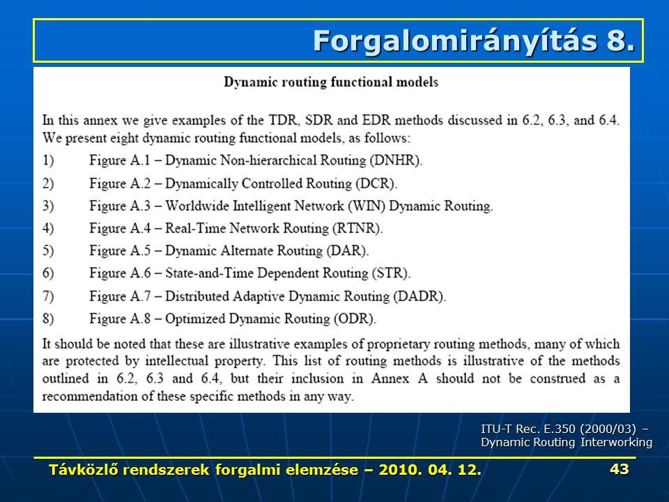 Távközlő rendszerek forgalmi elemzése – 2010. 04. 12. 43 Forgalomirányítás 8. ITU-T Rec. E.350 (2000/03) – Dynamic Routing Interworking
