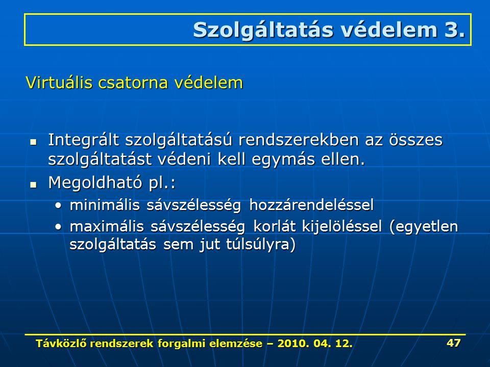 Távközlő rendszerek forgalmi elemzése – 2010. 04. 12. 47 Integrált szolgáltatású rendszerekben az összes szolgáltatást védeni kell egymás ellen. Integ