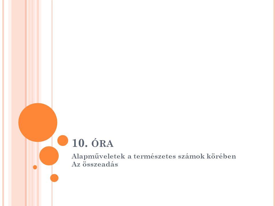 10. ÓRA Alapműveletek a természetes számok körében Az összeadás