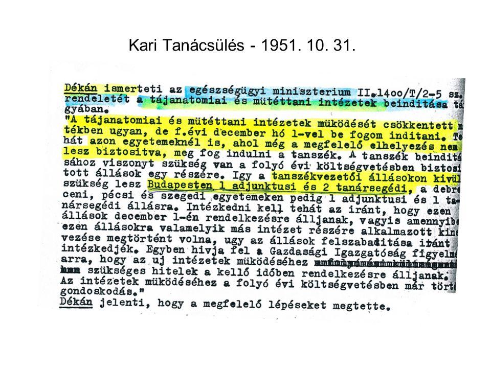 Kari Tanácsülés - 1951. 10. 31.