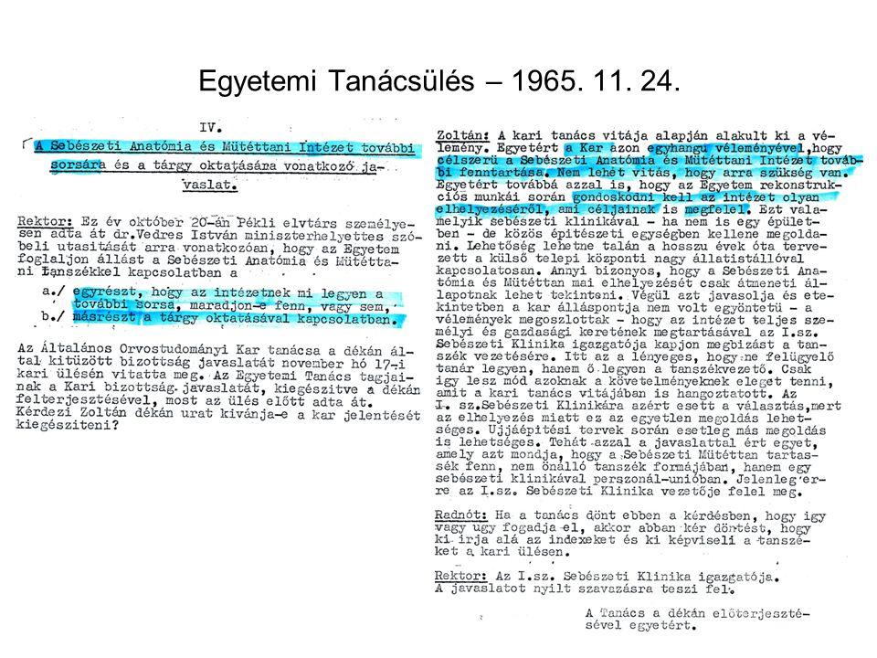 Egyetemi Tanácsülés – 1965. 11. 24.