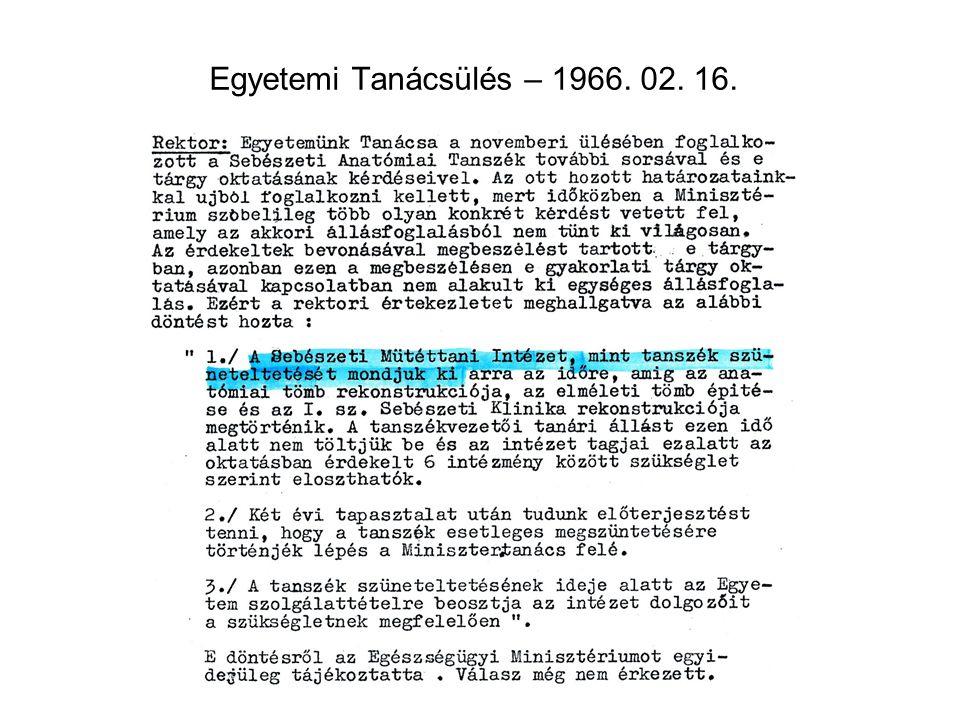 Egyetemi Tanácsülés – 1966. 02. 16.