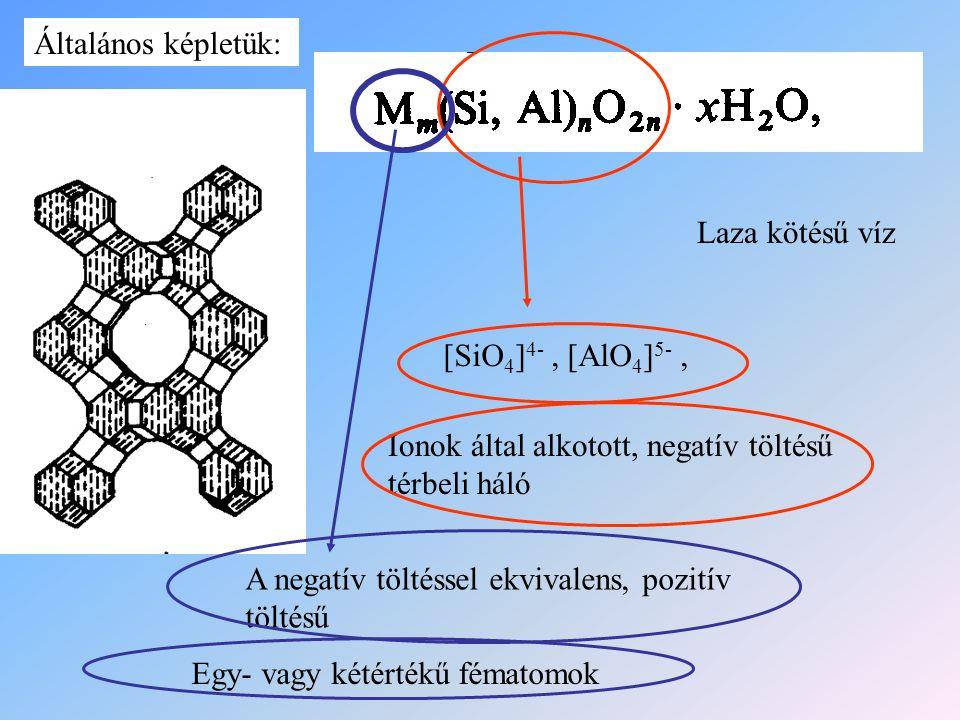 Egy- vagy kétértékű fématomok [SiO 4 ] 4-, [AlO 4 ] 5-, Ionok által alkotott, negatív töltésű térbeli háló A negatív töltéssel ekvivalens, pozitív töl