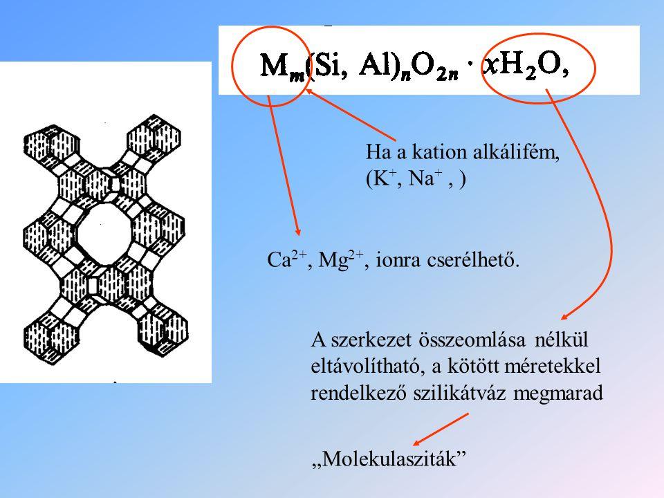 Ha a kation alkálifém, (K +, Na +, ) Ca 2+, Mg 2+, ionra cserélhető. A szerkezet összeomlása nélkül eltávolítható, a kötött méretekkel rendelkező szil