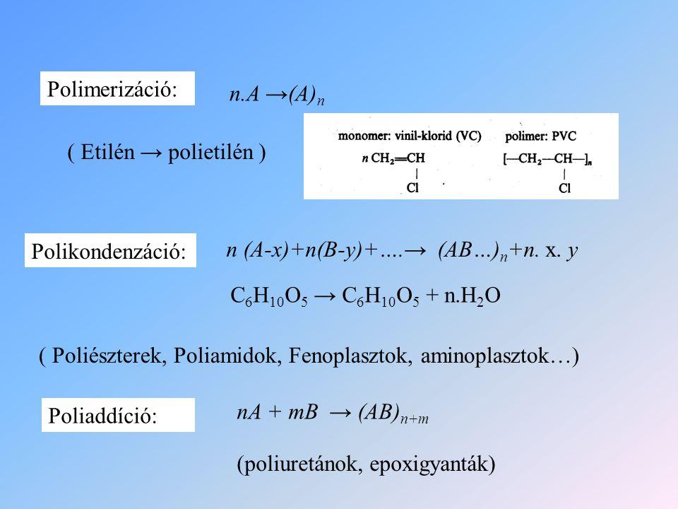 n.A →(A) n n (A-x)+n(B-y)+….→ (AB…) n +n. x. y nA + mB → (AB) n+m Polimerizáció: Polikondenzáció: Poliaddíció: ( Etilén → polietilén ) C 6 H 10 O 5 →