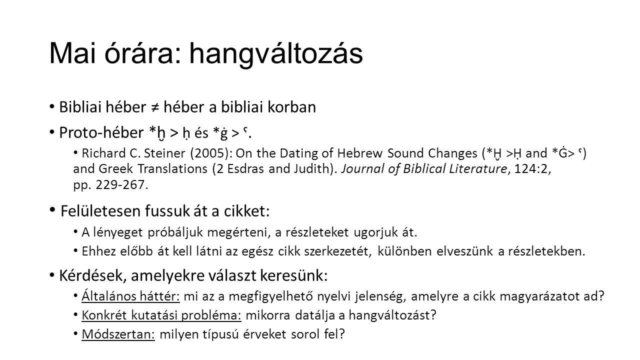 Mai órára: hangváltozás Bibliai héber ≠ héber a bibliai korban Proto-héber *ḫ > ḥ és *ġ > ˁ. Richard C. Steiner (2005): On the Dating of Hebrew Sound