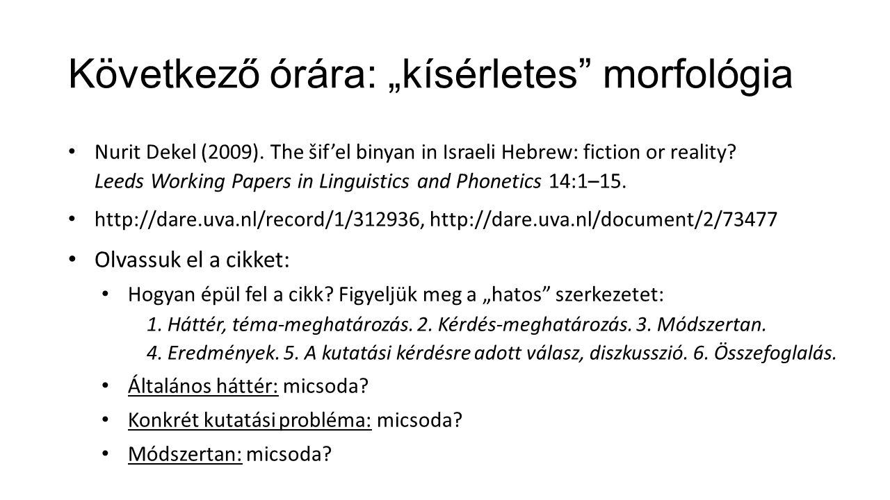 "Következő órára: ""kísérletes"" morfológia Nurit Dekel (2009). The šif'el binyan in Israeli Hebrew: fiction or reality? Leeds Working Papers in Linguist"