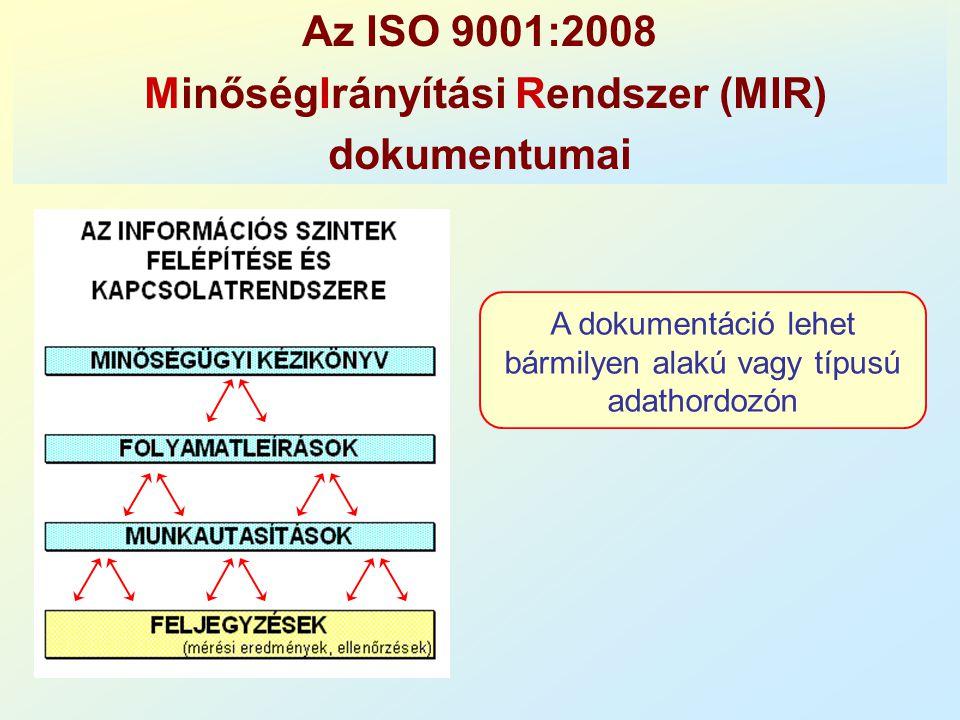 Az ISO 9001:2008 MinőségIrányítási Rendszer (MIR) dokumentumai A dokumentáció lehet bármilyen alakú vagy típusú adathordozón