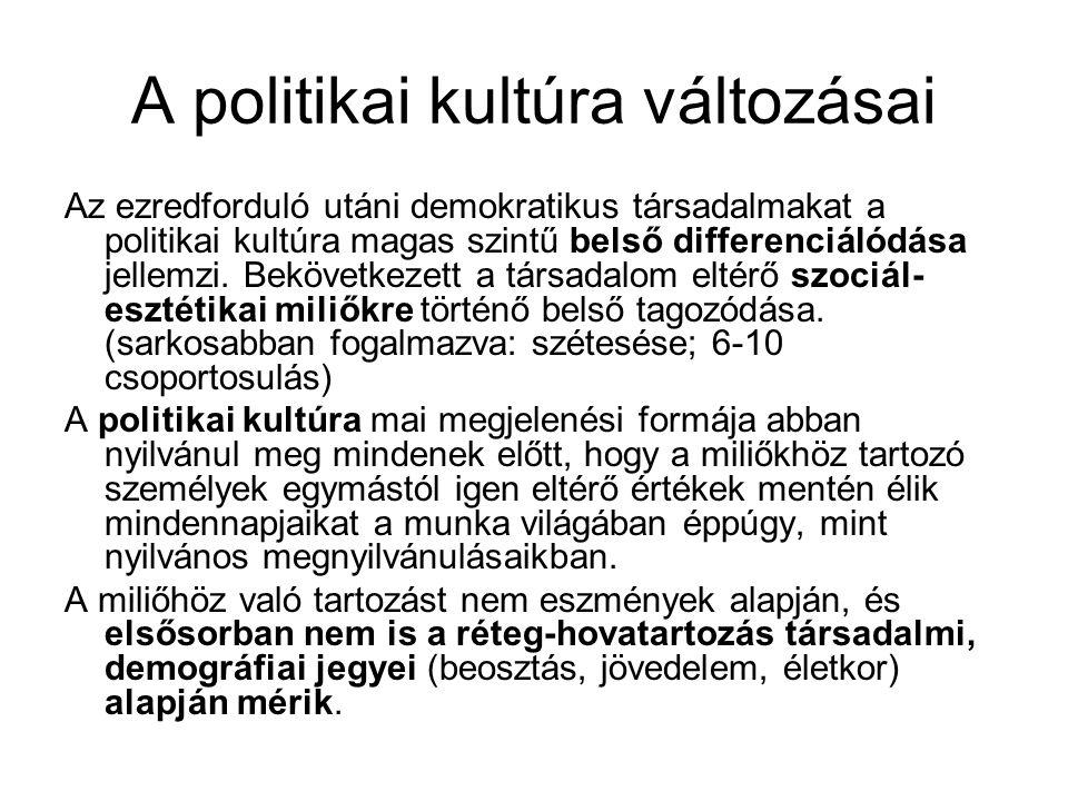A politikai kultúra változásai Az ezredforduló utáni demokratikus társadalmakat a politikai kultúra magas szintű belső differenciálódása jellemzi.