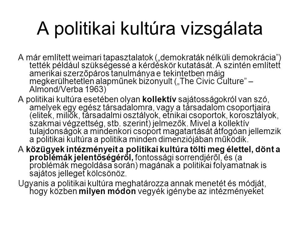 """A politikai kultúra vizsgálata A már említett weimari tapasztalatok (""""demokraták nélküli demokrácia ) tették például szükségessé a kérdéskör kutatását."""