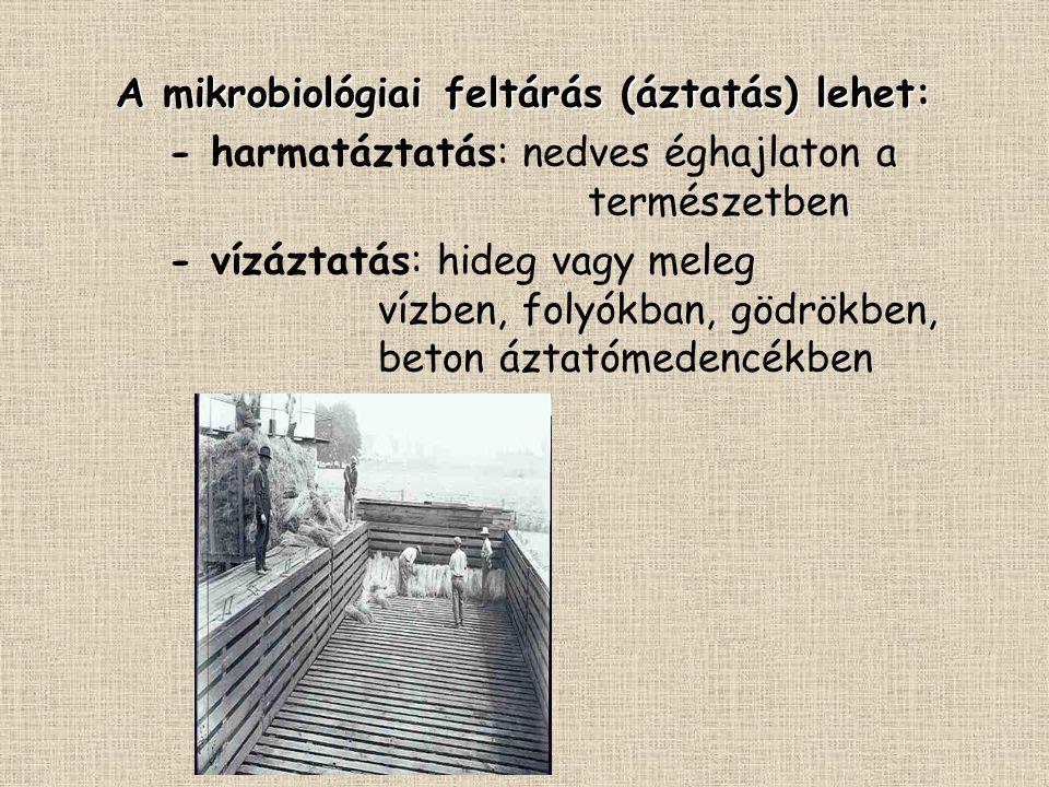 A mikrobiológiai feltárás (áztatás) lehet: - harmatáztatás: nedves éghajlaton a természetben - vízáztatás: hideg vagy meleg vízben, folyókban, gödrökb