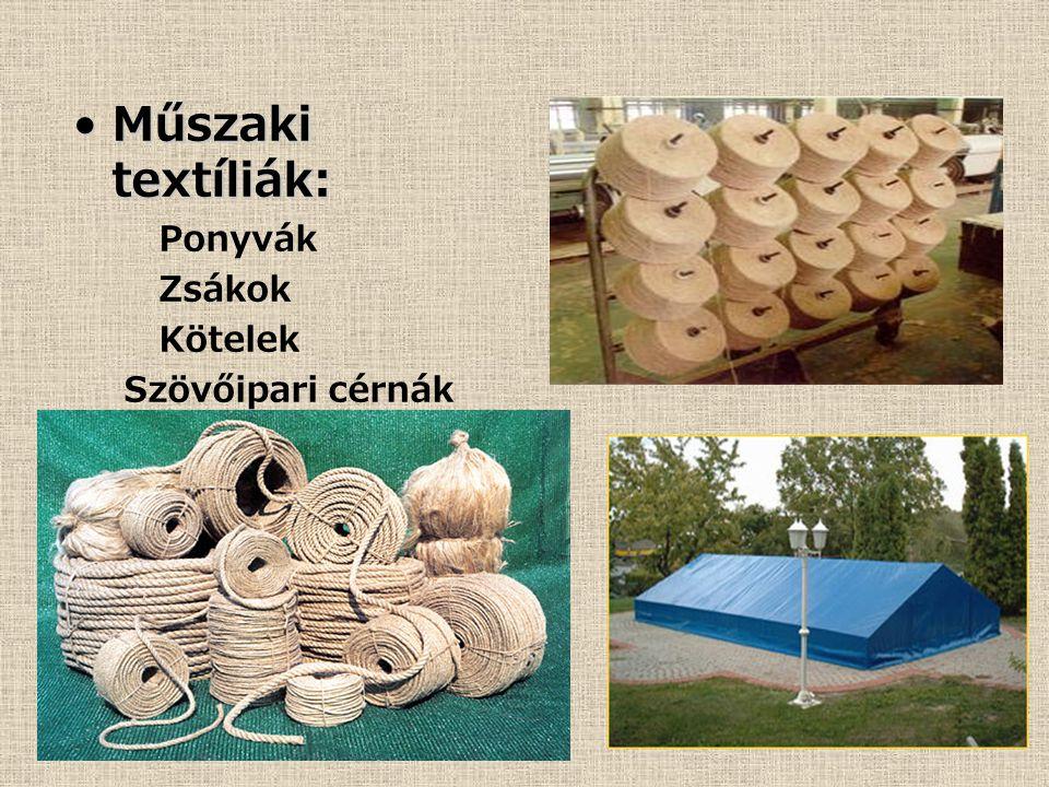 Műszaki textíliák:Műszaki textíliák: Ponyvák Zsákok Kötelek Szövőipari cérnák