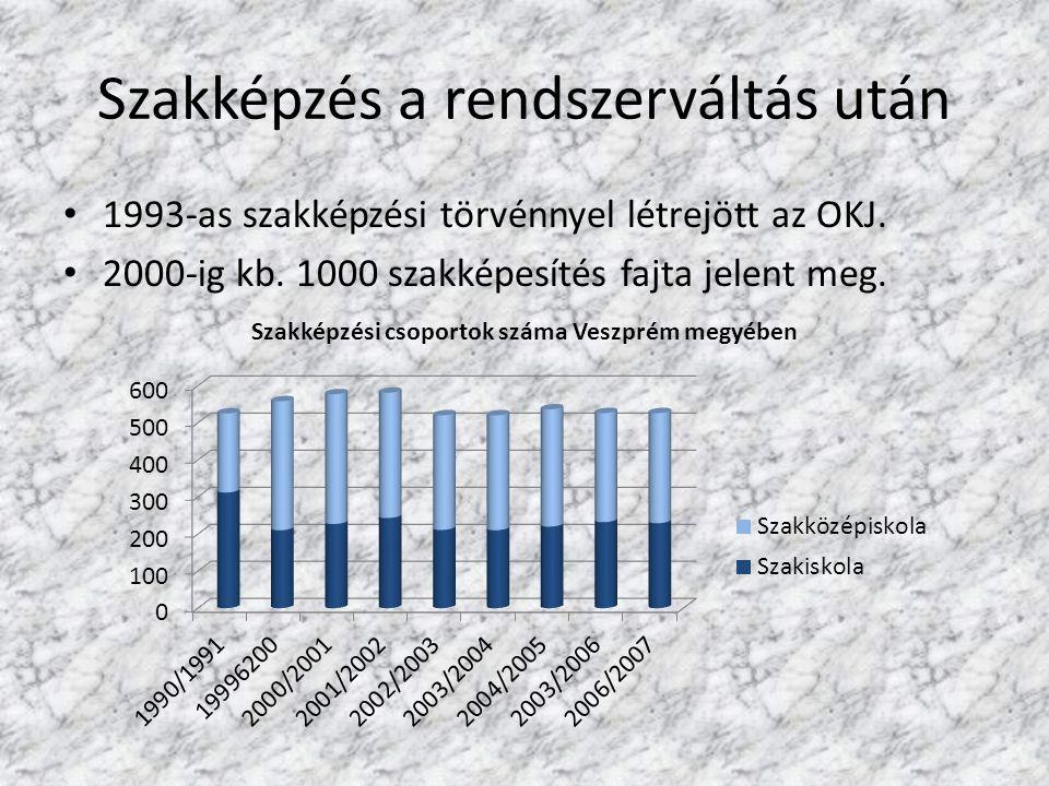 Szakképzés a rendszerváltás után 1993-as szakképzési törvénnyel létrejött az OKJ. 2000-ig kb. 1000 szakképesítés fajta jelent meg.