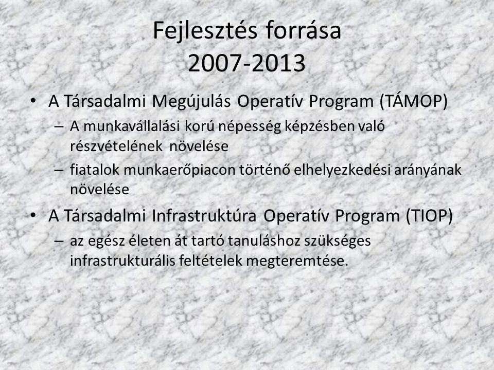 Fejlesztés forrása 2007-2013 A Társadalmi Megújulás Operatív Program (TÁMOP) – A munkavállalási korú népesség képzésben való részvételének növelése –