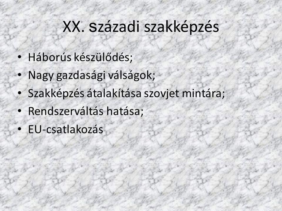 XX. s zázadi szakképzés Háborús készülődés; Nagy gazdasági válságok; Szakképzés átalakítása szovjet mintára; Rendszerváltás hatása; EU-csatlakozás